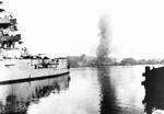 German battleship Schleswig-Holstein bombarding Westerplatte, Danzig, 1 Sep 1939. Photo 2 of 2.