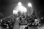 Londoners taking shelter in an underground train tunnel during the 'Blitz,' London, England, United Kingdom, 8 Oct 1940.