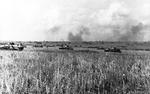 German tanks and armored vehicles on the battlefield at Kursk, Russia, 28 Jul 1943.