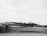 "B-17F Fortress ""Talisman"" warming up before take-off from Jackson's Drome, Port Moresby, New Guinea, 5 Sep 1943. This plane carried Douglas MacArthur to and from the battle zones in New Guinea."