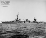 Heavy cruiser USS Chester emerging from Mare Island Naval Shipyard in California 2 Oct 1943 after repairs due to torpedo damage.