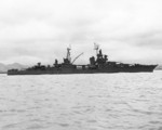 USS Chester at Mare Island Nay Yard on 16 May 1945 after an overhaul that drastically altered her appearance. The foremast was shortened while the mainmast was shifted forward and mounted to the aft smoke stack