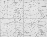 Four-part weather map of the South China Sea for Jan 7 to 10, 1945. Note daily positions of Task Force 38.