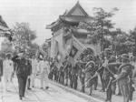 Wang Jingwei inspecting troops on the first occasion of the first anniversary of the puppet Guangdong provincial government, Sun Yatsen Memorial, Guangzhou, Guangdong, China, Jun 1942