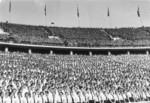 Hitler Youth members at the Olympic stadium, Berlin, Germany, 1937