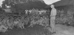 Lieutenant General Joseph Stilwell speaking to personnel of 2nd Troop Carrier Squadron, Assam, India, 15 Jul 1944