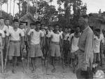 Lieutenant General Joseph Stilwell speaking to war-disabled Chinese troops at a rehabilitation camp on the Ledo Road, Assam, India, 15 Jul 1944