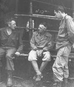 Brigadier General Frank Merrill, Lieutenant General Joseph Stilwell, and Major Louis Williams at Naubumy, Burma, 4 May 1944