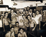 Victory celebration aboard USS Oahu while at Eniwetok, Marshall Islands, 15 Aug 1945