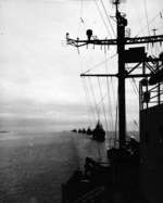 US transports entering Tokyo Bay, Japan, 21 Sep 1945