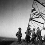 The first US flag raising in Japan, Fort No. 2 on the coast of Tokyo Bay, Japan, 30 Aug 1945