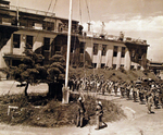 US flag raising at Yokosuka Navy Base, Japan, 29 Aug 1945