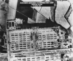 USAAF intelligence aerial photograph of the Auschwitz-Birkenau camp at Oświęcim, Poland taken 25 Aug 1944. This is a scan of an enlarged print taken from the original negative and captioned by the CIA in 1978.