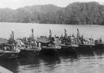 Elco 80-foot torpedo boats of Motor Torpedo Boat Squadron 24 (MTBRon 24) at the forward base in the southwest Pacific, mid-to-late 1945.