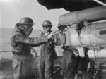 Gun crew with gas masks aboard HMS Broke, date unknown