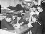 US Navy sailors playing cards, Londonderry, Northern Ireland, United Kingdom, date unknown