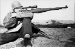 German sniper with Kar98k rifle, France or Belgium, 1943-1944