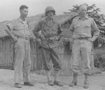Major General Pan Yukun, Lieutenant General Joseph Stilwell, and Lieutenant Colonel Kaplinger, Myitkyina, Burma, 18 Jul 1944