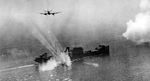 British Beaufighters of RAF 236 Squadron and RCAF 404 Squadron making a rocket attack on the heavily armed German mine detector ship Sauerland off La Pallice France, 12 Aug 1944. Photo 1 of 2