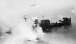 British Beaufighters of RAF 236 Squadron and RCAF 404 Squadron making a rocket attack on the heavily armed German mine detector ship Sauerland off La Pallice France, 12 Aug 1944. Photo 2 of 2