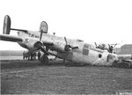 B-24J Liberator with the 458th Bomb Group with a collapsed front wheel due to a landing accident at Horsham St Faith, Norfolk, England, 2 Mar 1945.