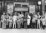 Zhang Zuolin (1), Zhang Zongchang (2), Wu Peifu (3), Zhang Xueliang (4), and others, Shuncheng Junwang Mansion, Beijing, China, 28 Jun 1926