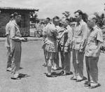 Lieutenant General Joseph Stilwell awarding the Purple Heart medal to Major Gordon S. Seagrave, India, mid-1942