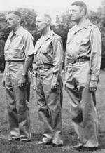 Lieutenant Colonel Frank Dorn, Colonel Robert P. Williams, and Lieutenant Colonel Frank Merrill receiving medals, India, mid-1942