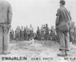 Funeral service for a fallen US Marine, Kwajalein, Marshall Islands, Jan-Feb 1944