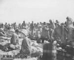 US Marines on a beach on Kwajalein, Marshall Islands, 1 Feb 1944