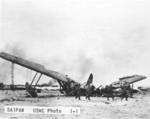 Destroyed Japanese flying boat, Saipan, Mariana Islands, Jun-Jul 1944