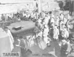 Religious service for US Marines aboard a Heywood-class attack transport ship, Tarawa, Gilbert Islands, late Nov 1943 (either the USS Heywood or the USS William P. Biddle).