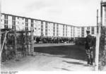 Entrance of Drancy concentration camp, Aug 1941; note French gendarme on guard