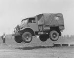 Canadian CMP 3/4-ton 4x4 truck undergoing testing, 1941. Note early cab design with rear swinging doors, rear sloping windscreen, and traditional front fenders (wings).