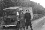 "RAF Flight Lt Charles Cholmondeley (pronounced Chumley) and RNVR LtCdr Ewen Montagu driving ""Major Martin"" from London to Holy Loch, Scotland as part of Operation Mincemeat, 28 Apr 1943."