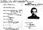 Identity card for Captain (acting Major) William Martin, Royal Marines; one of the fictitious documents created as part of Operation Mincemeat, Apr 1943.