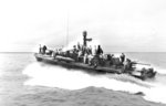 PT-490, an 80-foot Elco motor torpedo boat with MTB Squadron 33, transporting Gen Douglas MacArthur, LGen Robert Eichelberger, and staff from Iloilo on Panay to Bacolod on Negros in the Philippines, 7 Jun 1945.