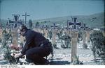 Horst Grund at a war cemetery in Krym (Crimea), Russia, circa Jan 1942