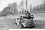 Schwimmwagen in a canal, northern France, 1943-1944