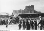 Storch aircraft at Dzerzhinsky Square (now Freedom Square), Kharkov, Ukraine, Nov 1941