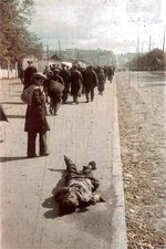Dead body along a street in Kiev, Ukraine, 1 Oct 1941