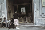 Portrait of Adolf Hitler in a shop window, Kharkov, Ukraine, Oct-Nov 1941