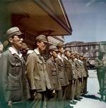 Japanese personnel standing in formation during the surrender of Yokosuka Naval Base, Japan, 30 Aug 1945