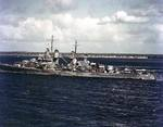USS San Juan probably at Nouméa, New Caledonia, 3 Aug 1942; photograph taken from USS Wasp