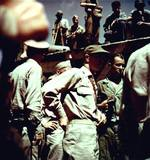 Rear Admiral Robert B. Carney at Yokosuka Naval Base to accept the surrender of the base, Yokosuka, Japan, 30 Aug 1945