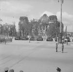 Bernard Montgomery reviewing officers in front of the Reichstag building, Berlin, Germany, 1945