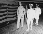 Lieutenant General Mark Clark and Navy Rear Admiral Alan Kirk aboard command ship USS Ancon during the Sicily operations, Mers-el-Kebir, Oran, Algeria, 18 Jul 1943.