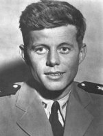 Lieutenant John F. Kennedy after his assignments on PT Boats and his return to the United States, Jan 1944. Note the amblyopia in his right eye that prevented him from being a pilot like his brother, Joe.