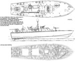 Sketch of an 80-foot PT-Boat in the set up used for Mediterranean service; note the fewer guns, aft positioning of the torpedoes, and the lack of rocket launchers or depth charge racks compared to Pacific boats.