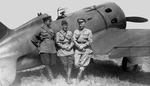 Soviet officers in front of a Russian Polikarpov I-16 fighter, 1930s-1940s.